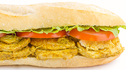 Roasted chicken breast, curry infused house mayo, sliced tomato, oak lettuce, yellow curry