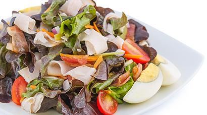 Bed of red & green oak lettuce, sliced smoked turkey breast, roasted bacon bits, hardboiled egg, sliced tomato, diced onion, diced cornichon pickle. Includes side of bread and house-made Italian style vinaigrette.