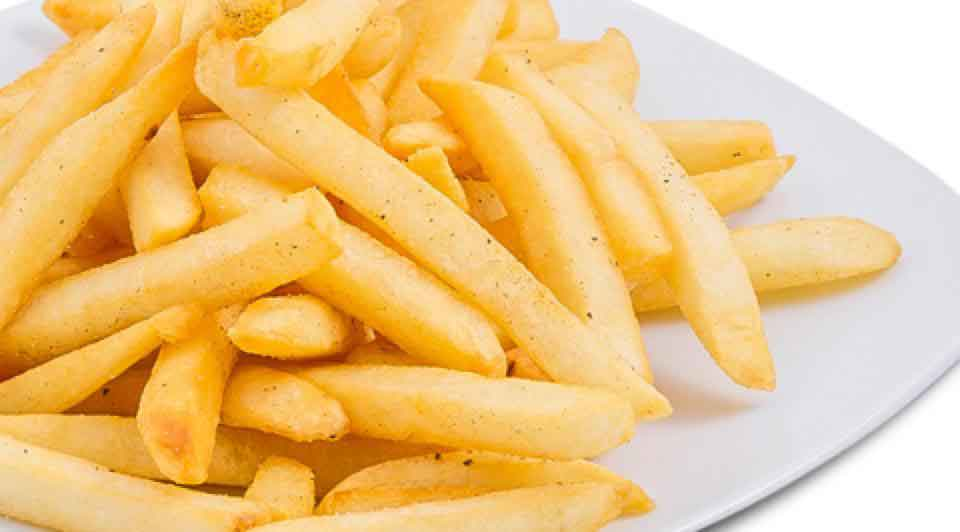 Sack of crispy, salty straight cut french fries.