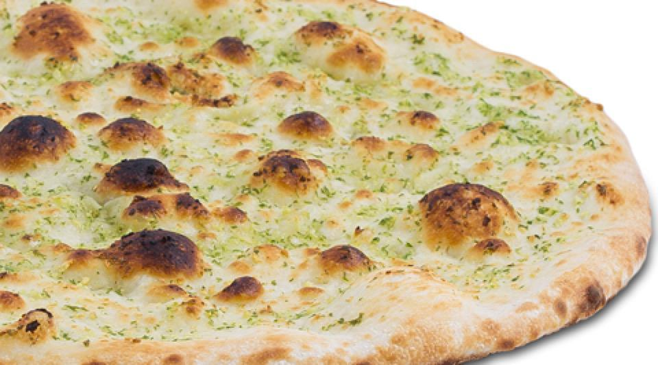 Our regular pizza base covered in garlic parsley oil and crispy baked
