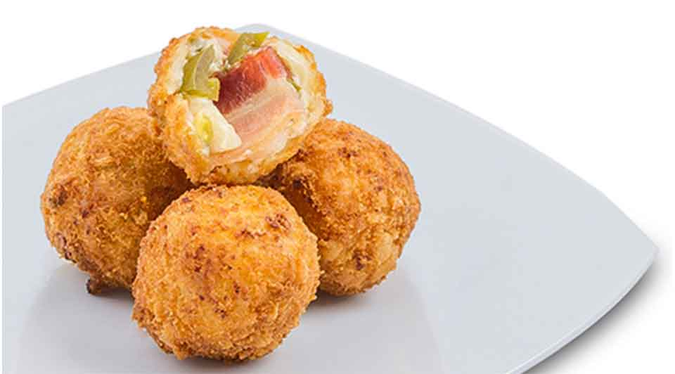 Balls of mac n Cheese with pickled jalapenos & smoked bacon deep fried and awesome. Serving of 4.